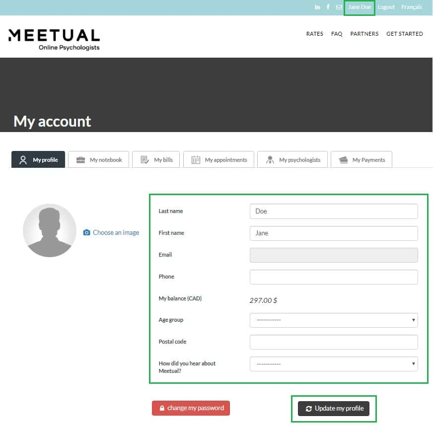 Update profile information Meetual