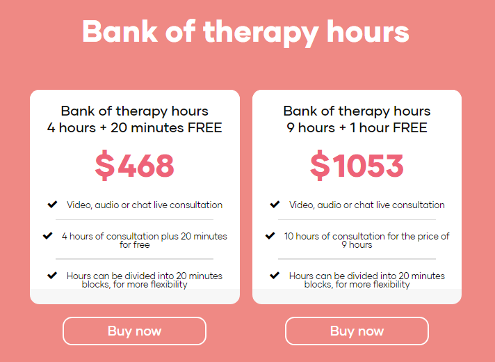 Bank of therapy hours purchase
